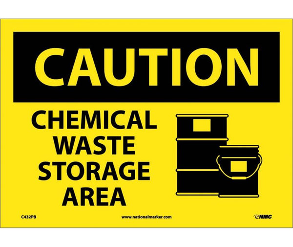 C432 National Marker Chemical and Hazardous Material Safety Signs Caution Chemical Waste Storage Area