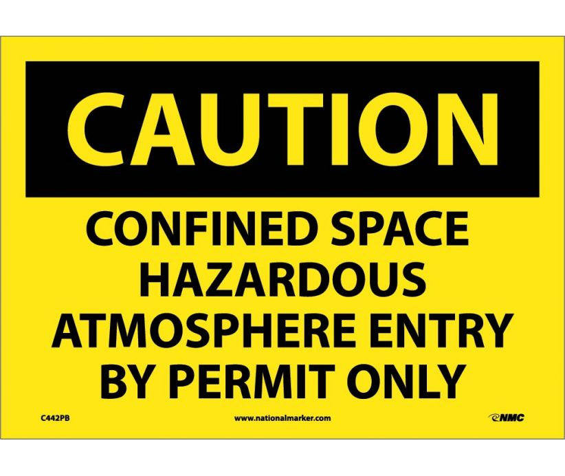 Confined Space Hazardous Atmosphere Entry By Permit Only: OSHA Caution Header Signs (C442) By NMC