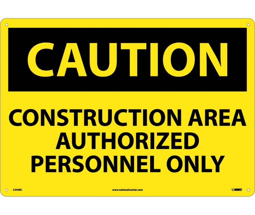 CAUTION, CONSTRUCTION AREA AUTHORIZED PERSONNEL ONLY, 14X20, RIGID PLASTIC