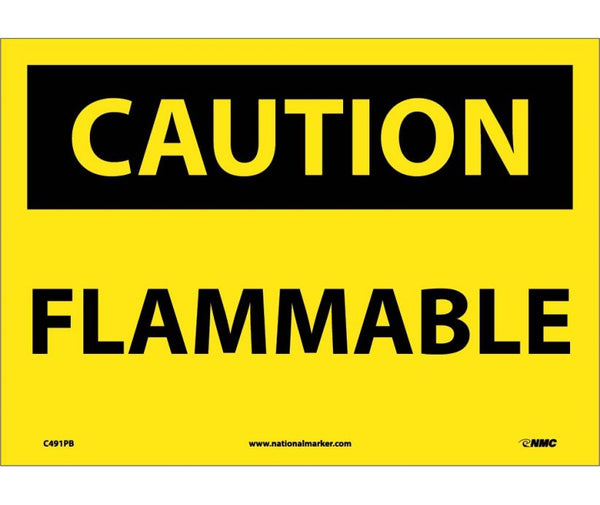 C491 National Marker Chemical and Hazardous Material Safety Signs Caution Flammable