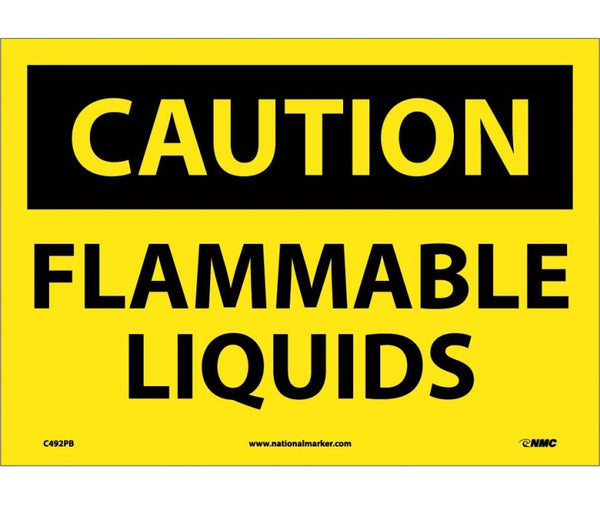 C492 National Marker Chemical and Hazardous Material Safety Signs Caution Flammable Liquids