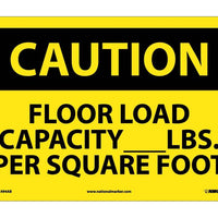 CAUTION, FLOOR LOAD CAPACITY__LBS. PER SQUARE FOOT, 10X14, .040 ALUM