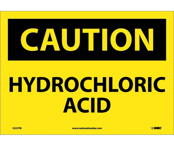 C527 National Marker Chemical and Hazardous Material Safety Signs Caution Hydrochloric Acid