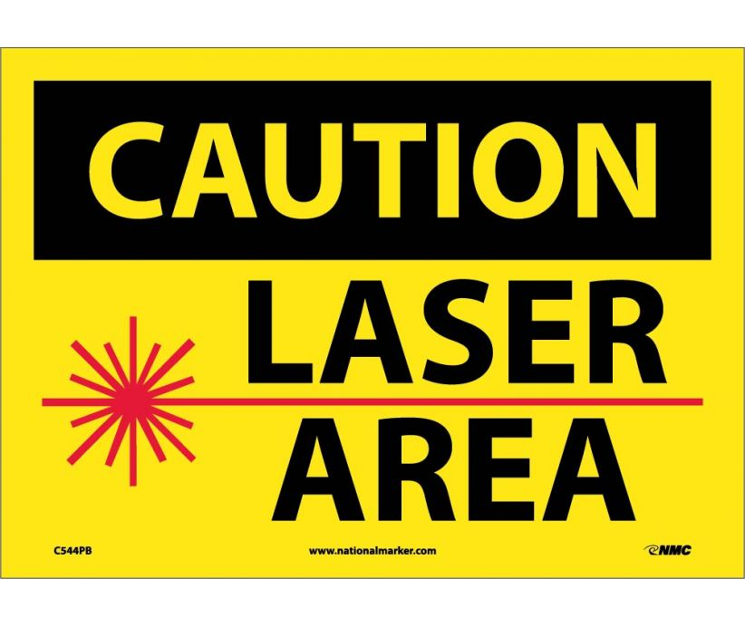 CAUTION, LASER AREA, GRAPHIC, 10X14, PS VINYL