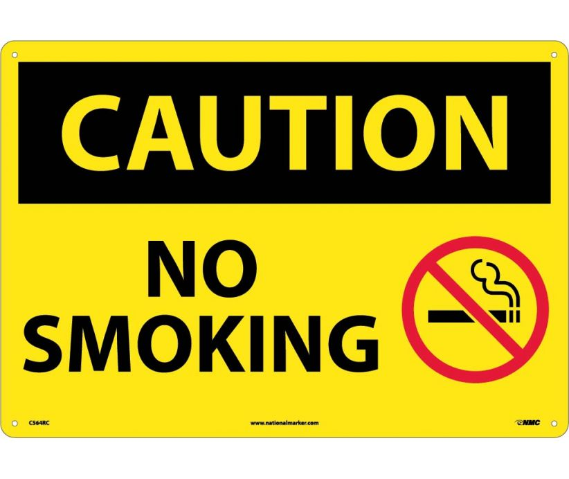 CAUTION, NO SMOKING, GRAPHIC, 14X20, RIGID PLASTIC