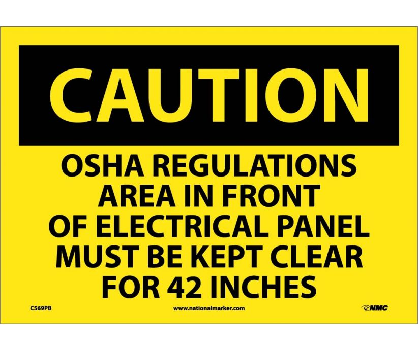 Electrical Panel Keep Clear For 42 Inches: OSHA Caution Header Signs (C569) By National Marker
