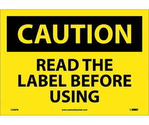 CAUTION, READ THE LABEL BEFORE USING, GRAPHIC, 10X14, PS VINYL