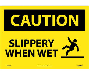 CAUTION, SLIPPERY WHEN WET, GRAPHIC, 10X14, PS VINYL