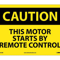 CAUTION, THIS MOTOR STARTS BY REMOTE CONTROL, 10X14, RIGID PLASTIC