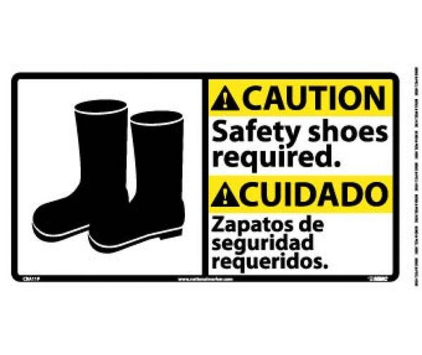 CBA11 National Marker Bilingual English and Spanish Signs Caution Safety Shoes Required
