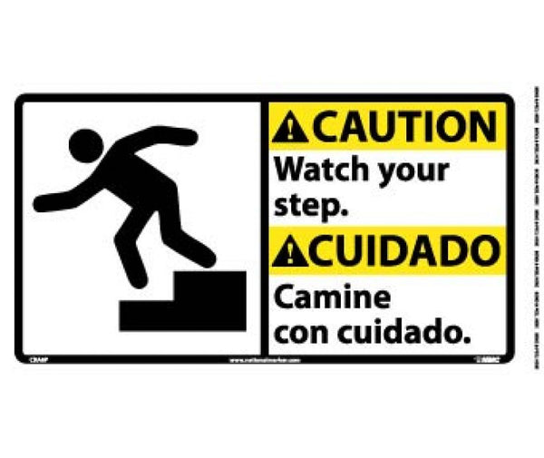 CBA6 National Marker Bilingual English and Spanish Signs Caution Watch Your Step