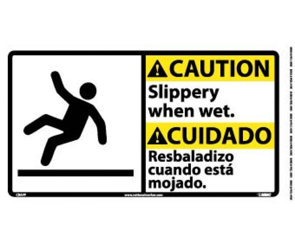 CBA7 National Marker Bilingual English and Spanish Signs Caution Slippery When Wet