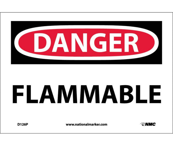 D126 National Marker Chemical and Hazardous Material Safety Signs Danger Flammable