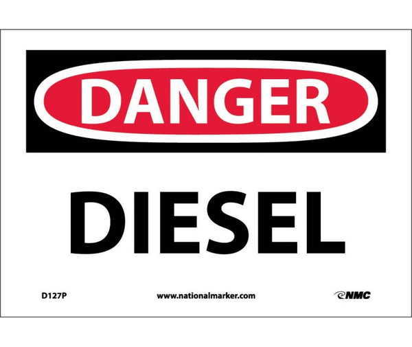D127 National Marker Chemical and Hazardous Material Safety Signs Danger Diesel