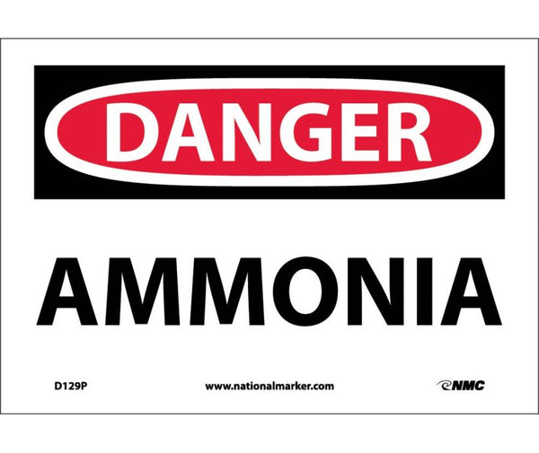 D129 National Marker Chemical and Hazardous Material Safety Signs Danger Ammonia