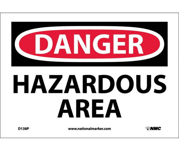 D138 National Marker Chemical and Hazardous Material Safety Signs Danger Hazardous Area