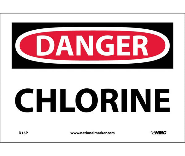 D15 National Marker Chemical and Hazardous Material Safety Signs Danger Chlorine