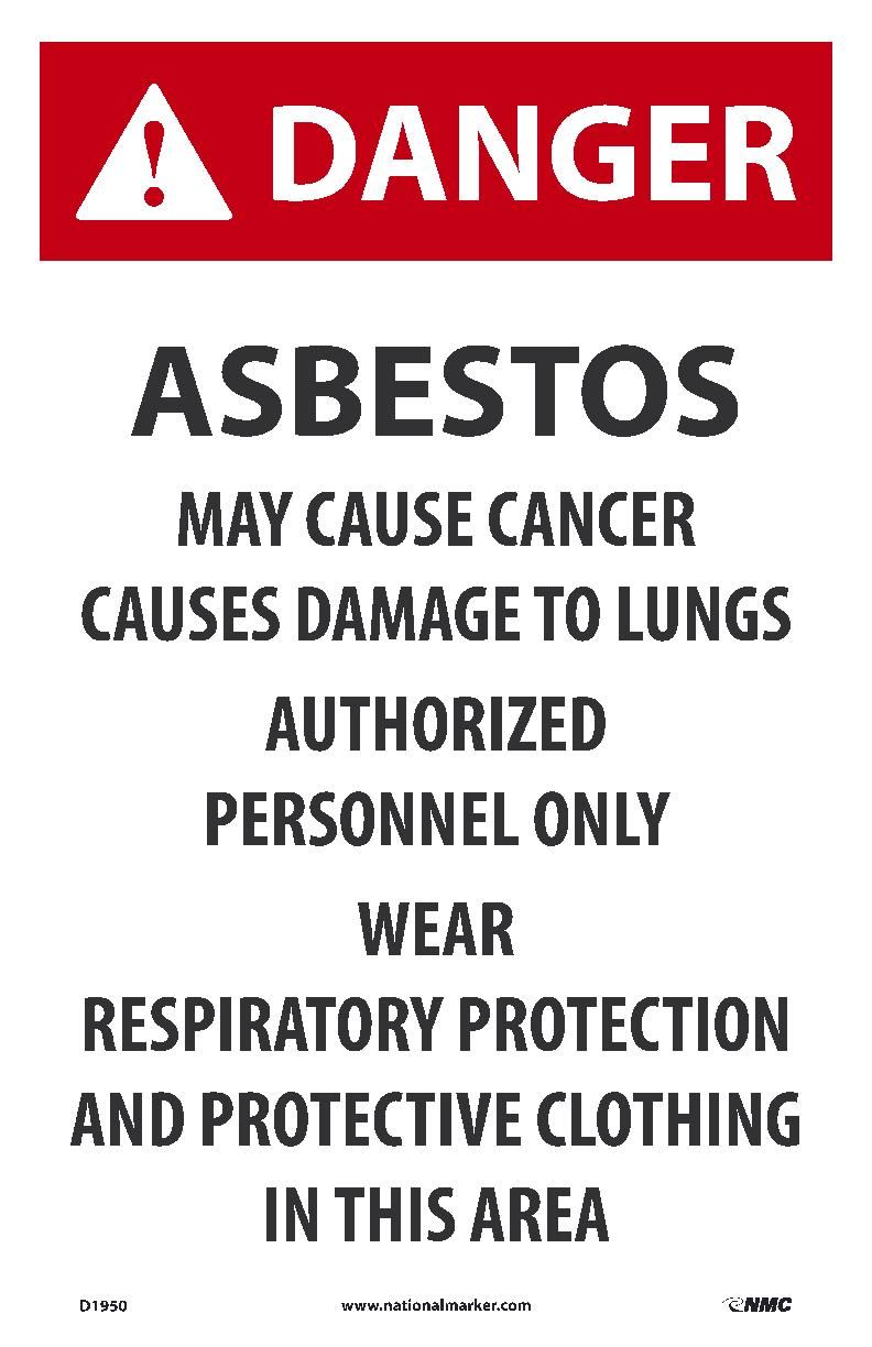 DANGER ASBESTOS MAY CAUSE CANCER, 17X11, PAPER, 100/PK