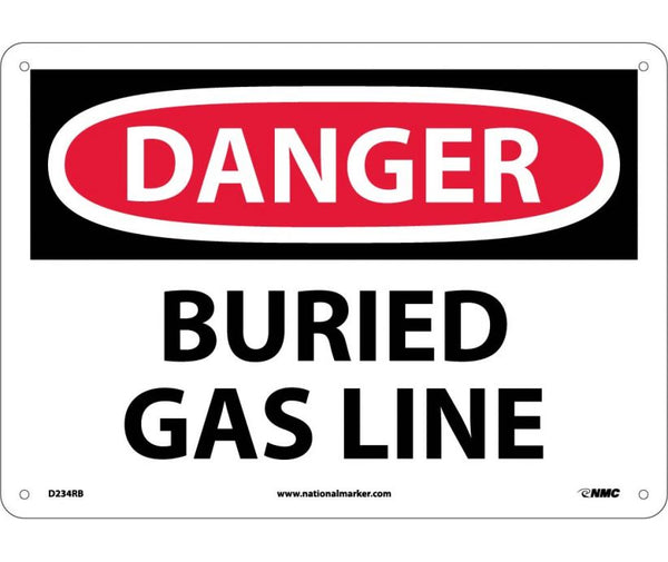 D234 National Marker Chemical and Hazardous Material Safety Signs Danger Buried Gas Line