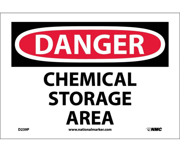 D239 National Marker Chemical and Hazardous Material Safety Signs Danger Chemical Storage Area