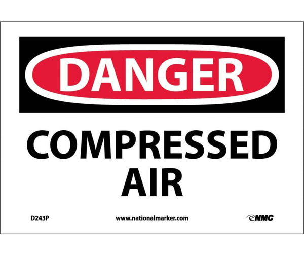 D243 National Marker Chemical and Hazardous Material Safety Signs Danger Compressed Air