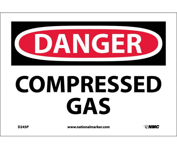 D245 National Marker Chemical and Hazardous Material Safety Signs Danger Compressed Gas