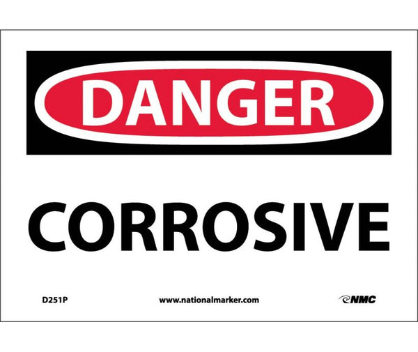 D251 National Marker Chemical and Hazardous Material Safety Signs Danger Corrosive