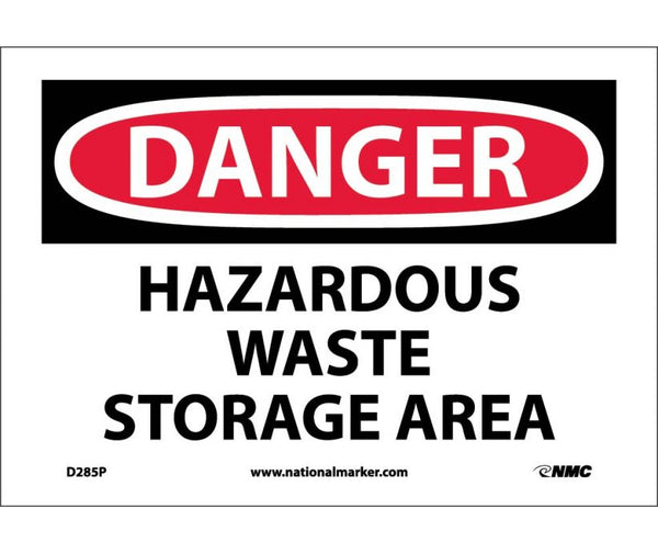 D285 National Marker Chemical and Hazardous Material Safety Signs Danger Hazardous Waste Storage Area