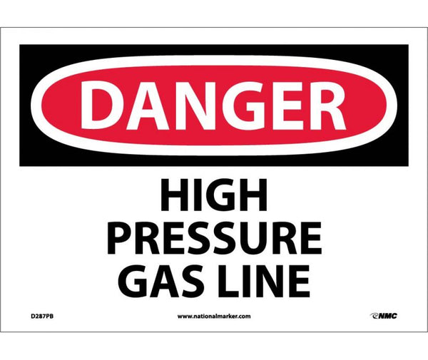 D287 National Marker Chemical and Hazardous Material Safety Signs Danger High Pressure Gas Line
