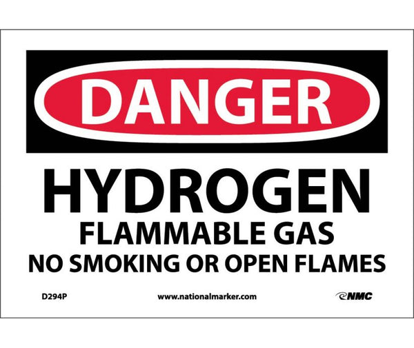 D294 National Marker Chemical and Hazardous Material Safety Signs Danger Hydrogen Flammable Gas No Smoking Or Open Flames