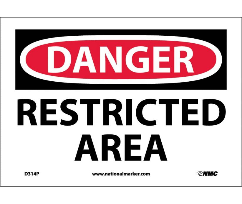 "D314P National Marker Restricted Area Danger Header Sign 7"" x 10"".004 Adhesive Backed Vinyl"
