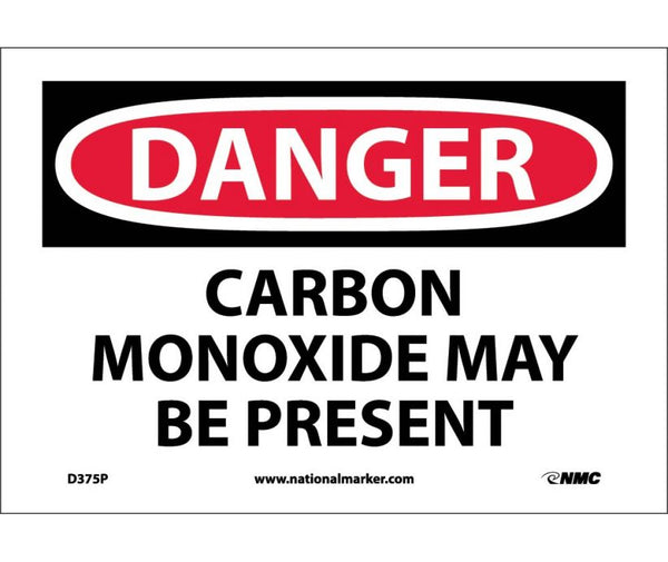 D375 National Marker Chemical and Hazardous Material Safety Signs Danger Carbon Monoxide May Be Present