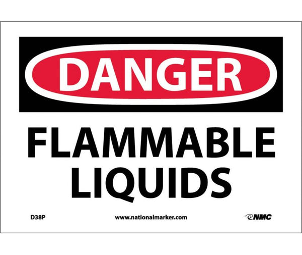D38 National Marker Chemical and Hazardous Material Safety Signs Danger Flammable Liquids
