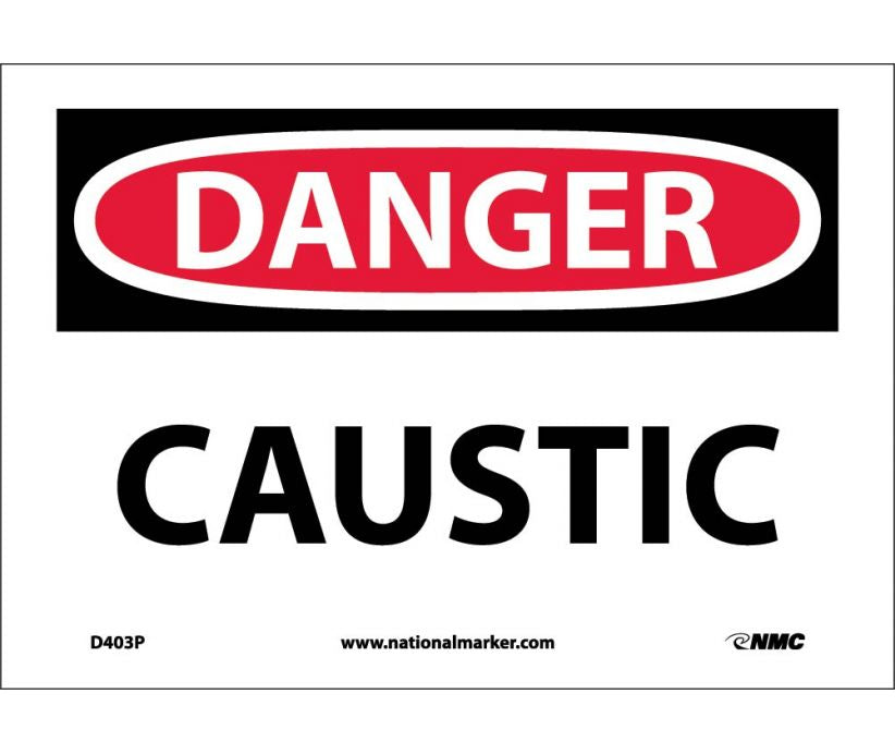 "D403P National Marker Caustic Danger Header Sign 7"" x 10"".004 Adhesive Backed Vinyl"