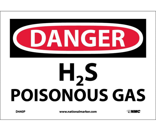 D440 National Marker Chemical and Hazardous Material Safety Signs Danger H2S Poisonous Gas