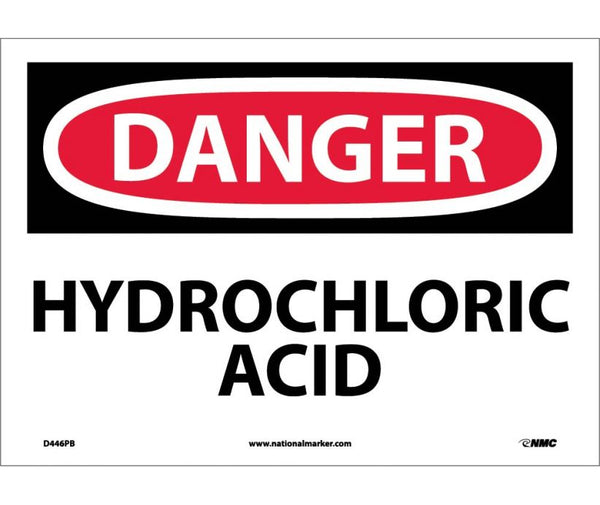 D446 National Marker Chemical and Hazardous Material Safety Signs Danger Hydrochloric Acid