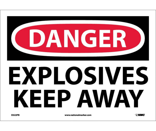 D522 National Marker Chemical and Hazardous Material Safety Signs Danger Explosives Keep Away