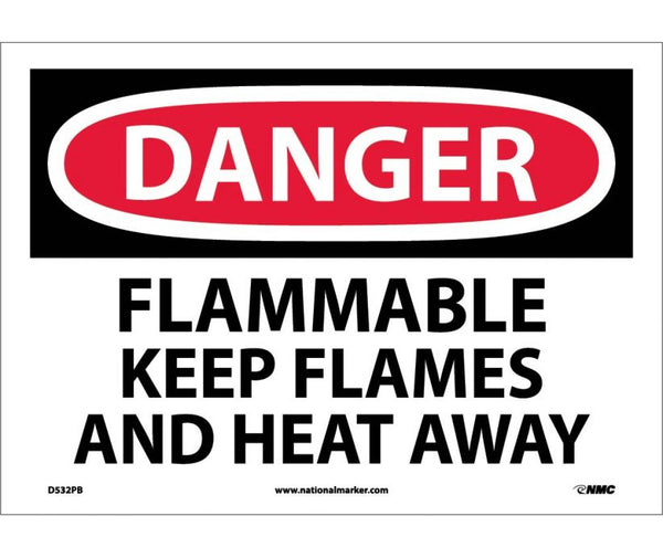 D532 National Marker Chemical and Hazardous Material Safety Signs Danger Flammable Keep Flames And Heat Away