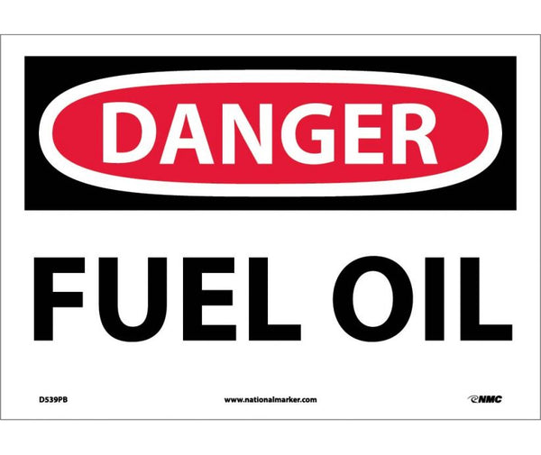 D539 National Marker Chemical and Hazardous Material Safety Signs Danger Fuel Oil