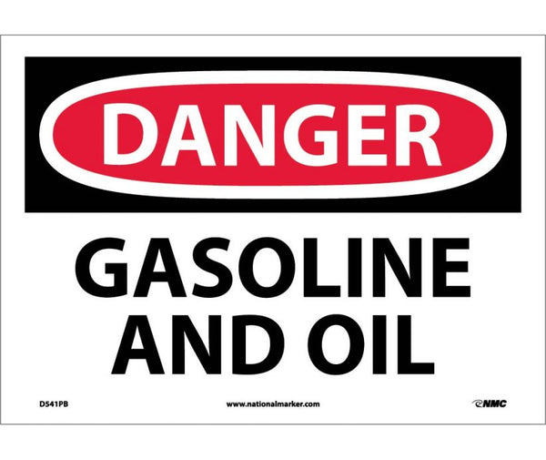 D541 National Marker Chemical and Hazardous Material Safety Signs Danger Gasoline And Oil
