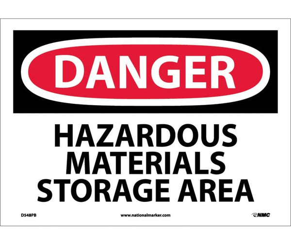 D548 National Marker Chemical and Hazardous Material Safety Signs Danger Hazardous Materials Storage Area