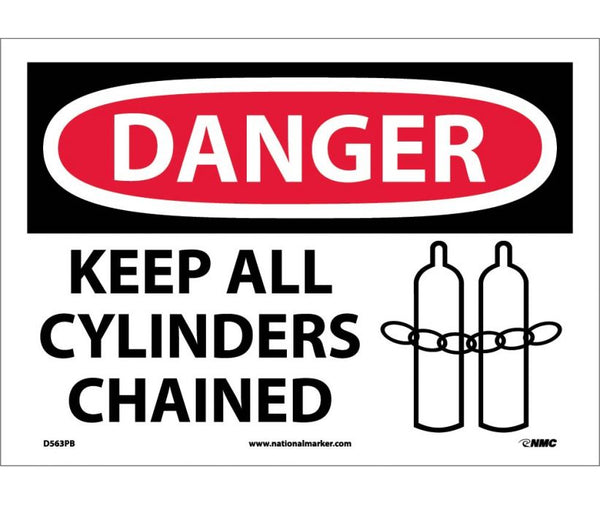 D563 National Marker Chemical and Hazardous Material Safety Signs Danger Keep All Cylinders Chained
