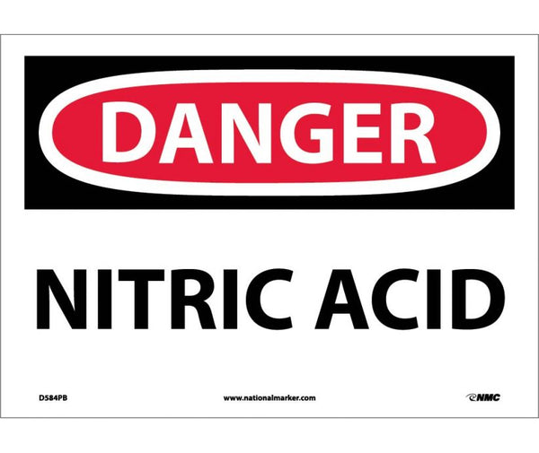 D584 National Marker Chemical and Hazardous Material Safety Signs Danger Nitric Acid