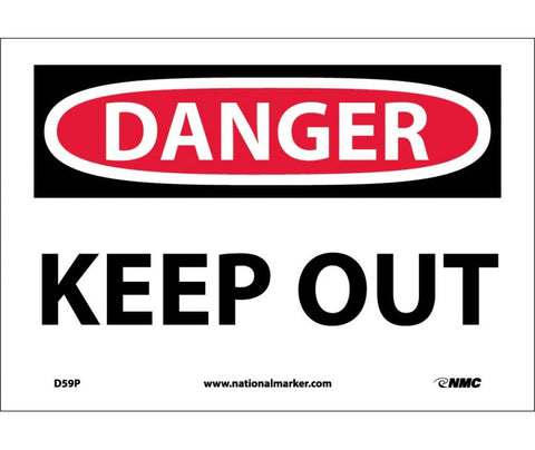 "D59P National Marker Keep Out Danger Header Sign 7"" x 10"".004 Adhesive Backed Vinyl"