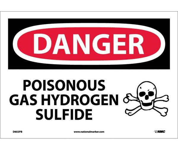 D602 National Marker Chemical and Hazardous Material Safety Signs Danger Poisonous Gas Hydrogen Sulfide