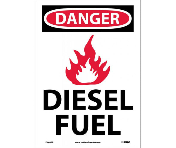 D644 National Marker Chemical and Hazardous Material Safety Signs Danger Diesel Fuel