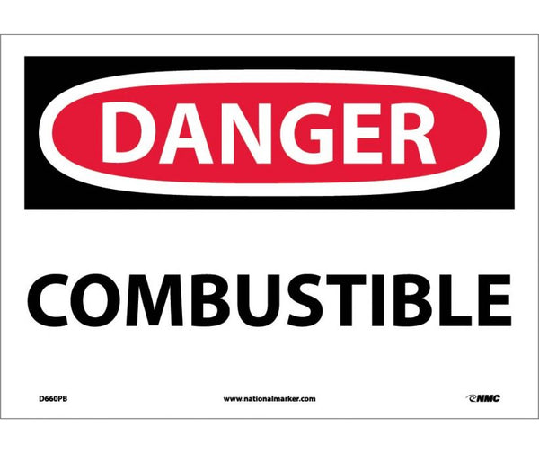 D660 National Marker Chemical and Hazardous Material Safety Signs Danger Combustible