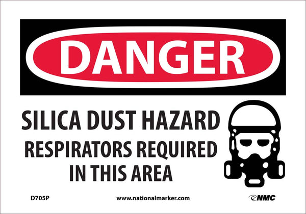 D705 National Marker Chemical and Hazardous Material Safety Signs Danger Silica Dust Hazard Respirator Required In This Area