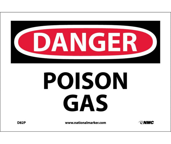 D82 National Marker Chemical and Hazardous Material Safety Signs Danger Poison Gas