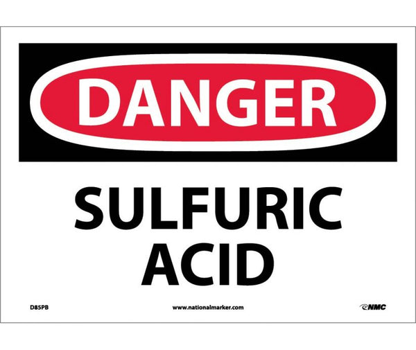 D85 National Marker Chemical and Hazardous Material Safety Signs Danger Sulfuric Acid